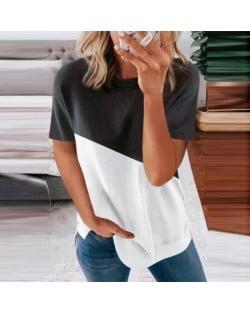 U.S. Fashion Wholesale Clothing Contrast Color Design Round Neck Women T-shirt/ Top - Black