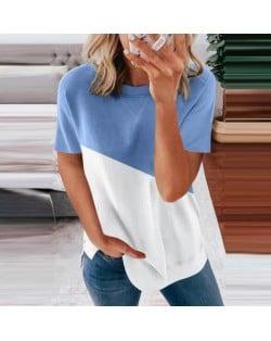 U.S. Fashion Wholesale Clothing Contrast Color Design Round Neck Women T-shirt/ Top - Light Blue