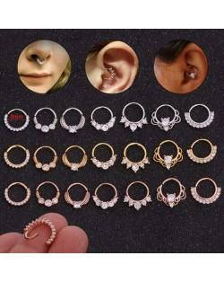 Creative Shining Design Cubic Zirconia Stainless Steel Piercing Nose Stud/ Stud Earrings (1 piece)