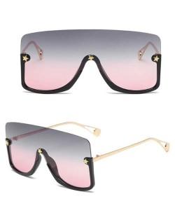 Big Semi-frame One-piece Women/ Men Ourdoor/ Riding Wholesale Sunglasses - Pink