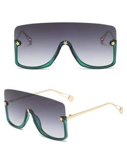 Big Semi-frame One-piece Women/ Men Ourdoor/ Riding Wholesale Sunglasses - Green and Gray