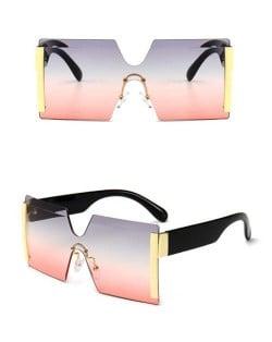Frameless One-piece Bold U.S. Fashion Wholesale Sunglasses - Pink and Gray