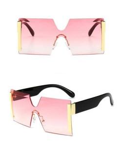 Frameless One-piece Bold U.S. Fashion Wholesale Sunglasses - Pink