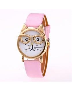 Cute Golden Glasses Cat Fashion Wrist Watch - Pink