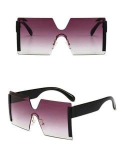 Frameless One-piece Bold U.S. Fashion Wholesale Sunglasses - Gray and Black