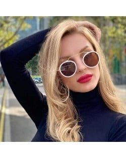 6 Colors Available Vintage Design Round Frame French Fashion Women Wholesale Sunglasses