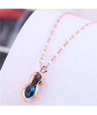 Wholesale Jewelry Hollow-out Peanut Pendant Unique Design Women Costume Necklace - Rose Gold