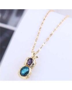Wholesale Jewelry Hollow-out Peanut Pendant Unique Design Women Costume Necklace - Golden