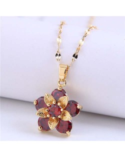 Wholesale Jewelry Cubic Ziconia Flower Pendant Women Alloy Fashion Necklace - Red