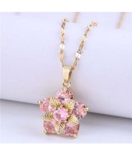 Wholesale Jewelry Cubic Ziconia Flower Pendant Women Alloy Fashion Necklace - Pink