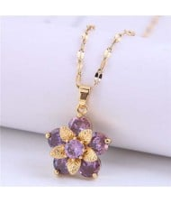 Wholesale Jewelry Cubic Ziconia Flower Pendant Women Alloy Fashion Necklace - Violet