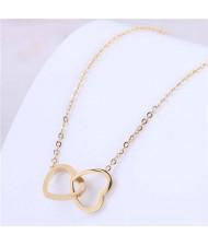 Elegant Design Twin Hearts Pendant Women Wholesale Necklace
