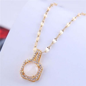 Wholesale Fashion Jewelry Exquisite Shining Rhinestone with Square Opal Inlaid Pendant Necklace