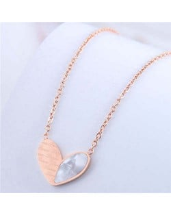 Simple Design Wholesale Jewelry Love Alphabets Engraved Heart Pendant Necklace - Rose Gold