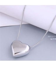 Simple Fashion Wholesale Jewelry Glossy Peach Heart Stainless Steel Threaded Chain Necklace
