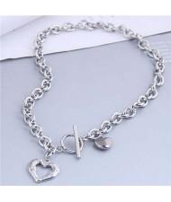 Punk Fashion Wholesale Jewelry Silver Color Heart Shape Pendant Thick Chain Necklace