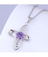 Sweet Design Hollow-out Purple Flower Women Wholesale Costume Necklace