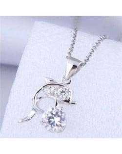 Unique Design Wholesale Jewelry Cute Jumping Dolphin Pendant Fashion Necklace - White