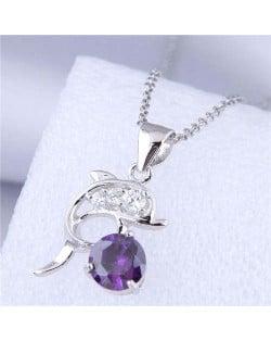 Unique Design Wholesale Jewelry Cute Jumping Dolphin Pendant Fashion Necklace - Purple