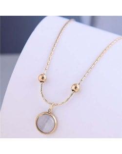 Sweet Simple Design Wholesale Jewelry Round Opal Pendant Women Necklace - Golden
