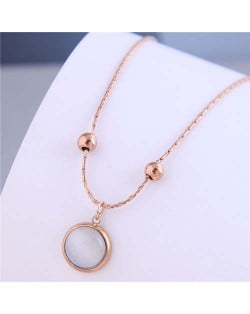 Sweet Simple Design Wholesale Jewelry Round Opal Pendant Women Necklace - Rose Gold