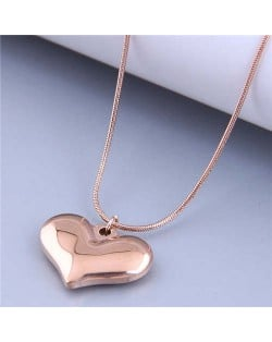 Wholesale Jewelry Korean Style Polishing Abstract Heart Pendant Fashion Necklace - Rose Gold