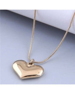 Wholesale Jewelry Korean Style Polishing Abstract Heart Pendant Fashion Necklace - Golden