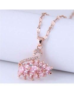 Elegant Design Wholesale Jewelry Glistening Cubic Zirconia Swan Pendant Office Lady Necklace - Pink