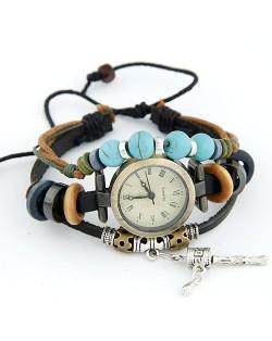 Fashionable Multiple Layer Elements Leather Bracelet Watch - Black