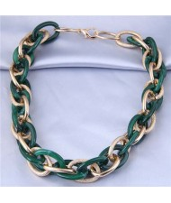 U.S. Fashion Wholesale Jewelry Mix Color Weaving Style Bold Chain Short Statement Necklace - Green