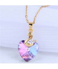 Wholesale Jewelry Exquisite Golden Swan with Cryatal Heart Shape Pendant Women Copper Costume Necklace