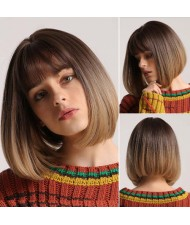 Gradient Brown Color Short Straight with Bangs Synthetic Hair Women Wholesale Wig