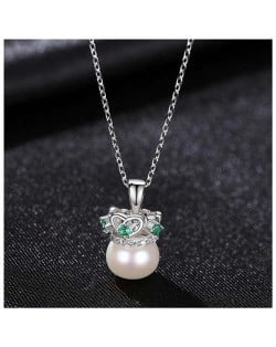 Graceful Crown with Pearl Pendant Wholesale 925 Sterling Silver Necklace - White