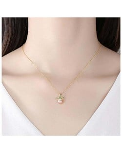 Graceful Crown with Pearl Pendant Wholesale 925 Sterling Silver Necklace - Pink