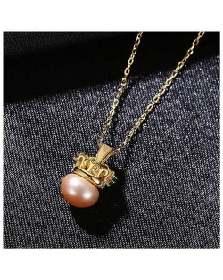Graceful Crown with Pearl Pendant Wholesale 925 Sterling Silver Necklace - Purple