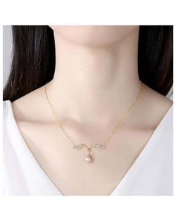 Romantic Angle Wings Pearl Pendant Wholesale 925 Sterling Silver Necklace - Purple
