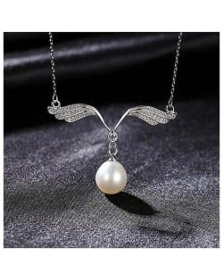 Romantic Angle Wings Pearl Pendant Wholesale 925 Sterling Silver Necklace - White