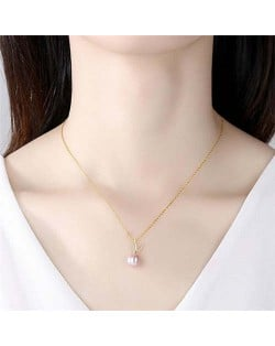 Cubic Zirconia Embellished V Letter Pearl Wholesale 925 Sterling Silver Necklace - Purple
