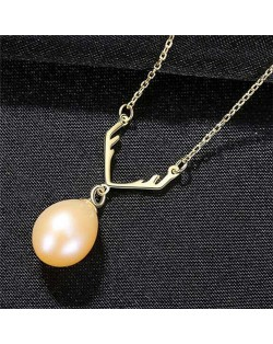 Unique Design Wholesale 925 Sterling Silver Jewelry Lucky Antlers Pearl Pendant Necklace - Pink