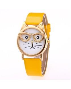 Cute Golden Glasses Cat Fashion Wrist Watch - Yellow