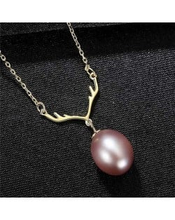 Unique Design Wholesale 925 Sterling Silver Jewelry Lucky Antlers Pearl Pendant Necklace - Purple