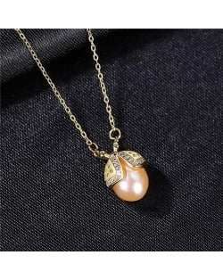 Korean Fashion Wholesale 925 Sterling Silver Jewelry Ladybug Natural Pearl Pendant Necklace - Purple