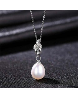 Wholesale Silver Jewelry Shining Leaves Pearl Pendant 925 Sterling Silver Necklace - White