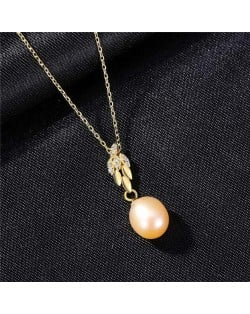 Wholesale Silver Jewelry Shining Leaves Pearl Pendant 925 Sterling Silver Necklace - Pink