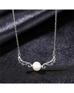 Beautiful Angle Wings with Round Pearl Pendant Wholesale 925 Sterling Silver Necklace - White