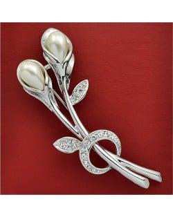 Rhinestone and Pearl Embellished 18K Platinum Tulip Brooch