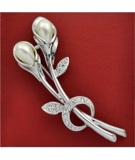 Rhinestone and Pearl Embellished 18K Platinum Tulip Brooch