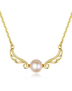 Beautiful Angle Wings with Round Pearl Pendant Wholesale 925 Sterling Silver Necklace - Purple