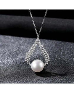 Luxurious Style Wholesale 925 Sterling Silver Cubic Zirconia Inlaid Waterdrop Pearl Necklace - White