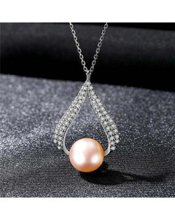 Luxurious Style Wholesale 925 Sterling Silver Cubic Zirconia Inlaid Waterdrop Pearl Necklace - Purple